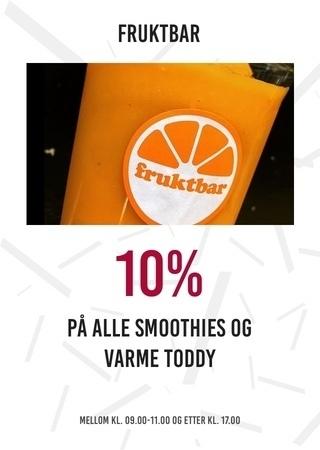 Fruktbar: 10% på alle smoothies og varme toddy