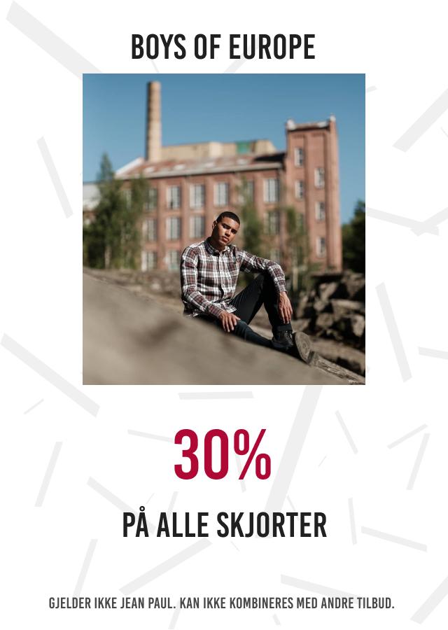 30% på alle skjorter