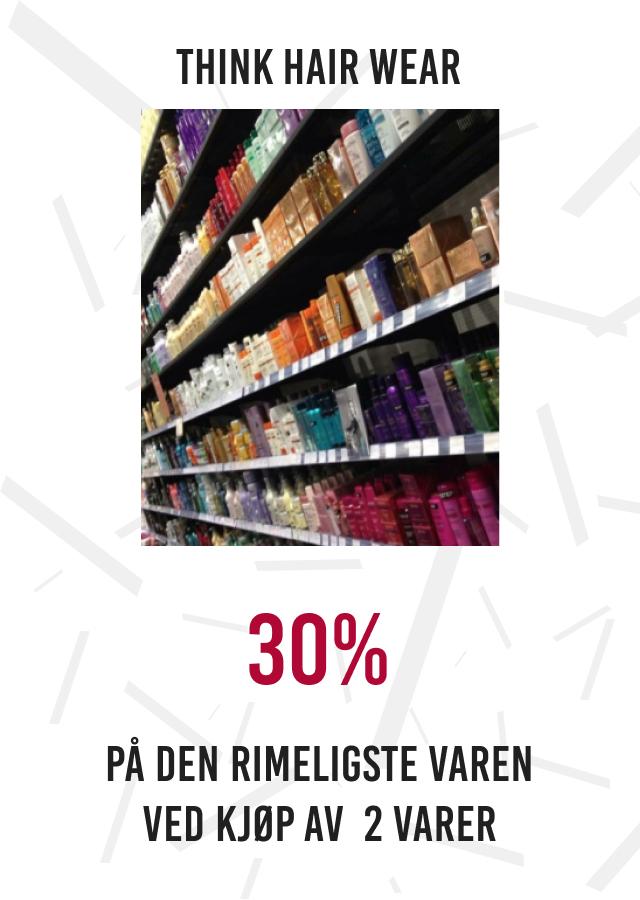30% på den rimeligste varen ved kjøp av 2 varer